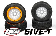 y3300 Original Losi 5ive-T tires with rims and inlays