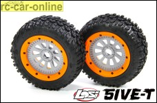 y3300/01 Complete and assembled original Losi 5ive-T AVC tires with rims
