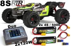ARA110002T1 ARRMA 1:5 KRATON 4X4 8S 2.0 BLX Brushless Speed Monster Truck RTR Komplettset mit 2x 4S / 5000 mAh Akkus + Dual Lader 2x120W